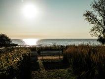 Όμορφη άποψη του ηλιοβασιλέματος πέρα από τη θάλασσα Baltc στο Gdynia, Πολωνία στοκ φωτογραφίες με δικαίωμα ελεύθερης χρήσης