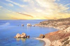 Όμορφη άποψη του τόπου γεννήσεως Aphrodite στη Κύπρο Petra TU Romiou, Stone Aphrodite Στοκ φωτογραφία με δικαίωμα ελεύθερης χρήσης