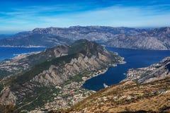 Όμορφη άποψη του kotorska Boka zaliv, Μαυροβούνιο Στοκ Εικόνες