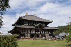 Όμορφη άποψη του Todai-todai-ji ναού στο Νάρα, η μεγάλη αίθουσα του Βούδα στοκ εικόνες