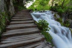 Όμορφη άποψη των καταρρακτών με το τυρκουάζ νερό και την ξύλινη διάβαση μέσω πέρα από το νερό εθνικό plitvice πάρκων λιμνών της Κ Στοκ φωτογραφία με δικαίωμα ελεύθερης χρήσης