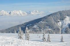 Όμορφη άποψη των χιονισμένων ερυθρελατών, των βουνών και των χαμηλών σύννεφων το χειμώνα Στοκ Εικόνα