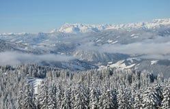 Όμορφη άποψη των χιονισμένων ερυθρελατών, των βουνών και των χαμηλών σύννεφων το χειμώνα Στοκ φωτογραφία με δικαίωμα ελεύθερης χρήσης
