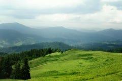 Όμορφη άποψη των λόφων βουνών και των δέντρων, conce θερινού ταξιδιού Στοκ Εικόνες