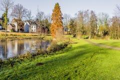 Όμορφη άποψη φθινοπώρου μιας λίμνης που περιβάλλεται από την πράσινα χλόη και τα δέντρα στοκ εικόνα