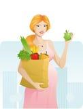όμορφη έγκυος γυναίκα μήλ&o Στοκ Εικόνα