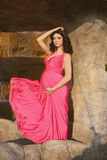 Όμορφη έγκυος γυναίκα που φορά στο φυσώντας ρόδινο φόρεμα που θέτει τον άργυρο Στοκ φωτογραφία με δικαίωμα ελεύθερης χρήσης