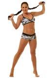 Όμορφη αθλητική γυναίκα στην τοποθέτηση εσώρουχων στο στούντιο Στοκ φωτογραφία με δικαίωμα ελεύθερης χρήσης
