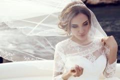 Όμορφη αισθησιακή νύφη με τη σκοτεινή τρίχα στο πολυτελές γαμήλιο φόρεμα δαντελλών