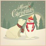 Όμορφη αναδρομική κάρτα Χριστουγέννων με τη πολική αρκούδα και το χιονάνθρωπο διανυσματική απεικόνιση