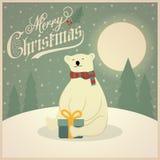 Όμορφη αναδρομική κάρτα Χριστουγέννων με τη πολική αρκούδα ελεύθερη απεικόνιση δικαιώματος