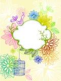Όμορφη ανασκόπηση με το κλουβί και τα λουλούδια διανυσματική απεικόνιση
