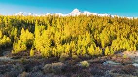 Όμορφη ανατολή πέρα από το βουνό το φθινόπωρο φιλμ μικρού μήκους