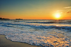 Όμορφη ανατολή στη Μαύρη Θάλασσα - τη Ρουμανία Στοκ φωτογραφία με δικαίωμα ελεύθερης χρήσης