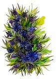 Όμορφη ανθοδέσμη των cornflowers με τα φύλλα Στοκ Φωτογραφίες