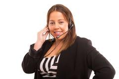 όμορφη αντιπροσωπευτική τηλεφωνική γυναίκα χειριστών κασκών κοριτσιών πελατών στοκ εικόνες