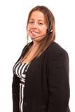 όμορφη αντιπροσωπευτική τηλεφωνική γυναίκα χειριστών κασκών κοριτσιών πελατών στοκ εικόνα με δικαίωμα ελεύθερης χρήσης