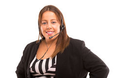 όμορφη αντιπροσωπευτική τηλεφωνική γυναίκα χειριστών κασκών κοριτσιών πελατών στοκ φωτογραφία με δικαίωμα ελεύθερης χρήσης