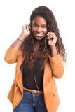 όμορφη αντιπροσωπευτική τηλεφωνική γυναίκα χειριστών κασκών κοριτσιών πελατών στοκ εικόνες με δικαίωμα ελεύθερης χρήσης