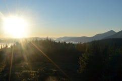 όμορφη απεικόνισης λιβαδιών ηλιόλουστη ανατολή άνοιξη φύσης θετική Στοκ Φωτογραφίες