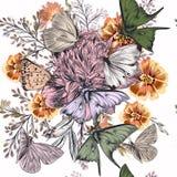 Όμορφη απεικόνιση με τα τριαντάφυλλα, λουλούδια τομέων Στοκ Εικόνα