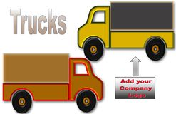 Όμορφη απεικόνιση των φορτηγών με το διάστημα για το λογότυπο και τη διαφήμιση ελεύθερη απεικόνιση δικαιώματος