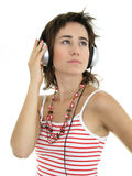 όμορφη απολαμβάνοντας γυναίκα μουσικής Στοκ εικόνες με δικαίωμα ελεύθερης χρήσης