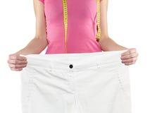 όμορφη απώλεια έννοιας κοιλιών πέρα από τη λευκή γυναίκα βάρους Στοκ Εικόνες
