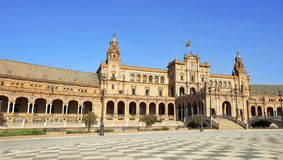 Όμορφη αρχιτεκτονική Plaza de Espana στη Σεβίλη Στοκ Φωτογραφίες