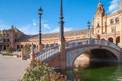 Όμορφη αρχιτεκτονική Plaza de Espana στη Σεβίλη Στοκ φωτογραφία με δικαίωμα ελεύθερης χρήσης