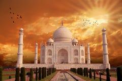 Όμορφη αρχιτεκτονική Taj Mahal, Ινδία, Agra Στοκ Φωτογραφίες