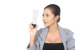 Όμορφη ασιατική γυναίκα με την υγιή έννοια δερμάτων SPA, τακτοποιημένος καθαρός Στοκ Εικόνες