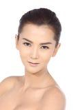 Όμορφη ασιατική γυναίκα με την υγιή έννοια δερμάτων SPA, τακτοποιημένος καθαρός Στοκ εικόνες με δικαίωμα ελεύθερης χρήσης