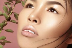 Όμορφη ασιατική γυναίκα με φρέσκο καθημερινό makeup Το βιετναμέζικο κορίτσι ομορφιάς στην επεξεργασία SPA με πράσινο βγάζει φύλλα Στοκ φωτογραφία με δικαίωμα ελεύθερης χρήσης