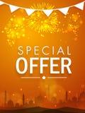 Όμορφη αφίσα, έμβλημα ή ιπτάμενο πώλησης για τον εορτασμό Eid Στοκ Εικόνες
