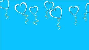 Όμορφη αφηρημένη σύσταση των άσπρων μπαλονιών με μορφή των καρδιών με τις σκιές και μιας χρυσής κορδέλλας για την ημέρα του ευτυχ διανυσματική απεικόνιση