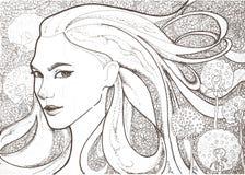 Όμορφη βασίλισσα κοριτσιών των πικραλίδων διανυσματική απεικόνιση