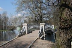 Όμορφη γέφυρα για πεζούς πετρών με έναν φράκτη χυτοσιδήρων στοκ εικόνα με δικαίωμα ελεύθερης χρήσης