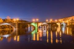 Όμορφη γέφυρα στη νύχτα Στοκ Φωτογραφίες