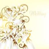 Όμορφη γαμήλια κάρτα με τα άσπρα λουλούδια Στοκ Εικόνα