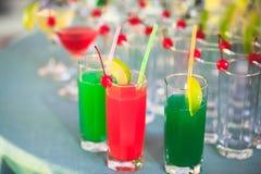 Όμορφη γραμμή διαφορετικών χρωματισμένων κοκτέιλ οινοπνεύματος με τον καπνό σε μια γιορτή Χριστουγέννων, ένα tequila, martini, μι Στοκ Εικόνα