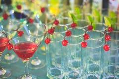Όμορφη γραμμή διαφορετικών χρωματισμένων κοκτέιλ οινοπνεύματος με τον καπνό σε μια γιορτή Χριστουγέννων, ένα tequila, martini, μι Στοκ φωτογραφία με δικαίωμα ελεύθερης χρήσης
