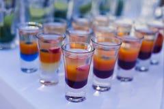 Όμορφη γραμμή διαφορετικών χρωματισμένων κοκτέιλ οινοπνεύματος με τον καπνό σε μια γιορτή Χριστουγέννων, ένα tequila, martini, μι Στοκ Εικόνες
