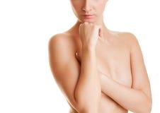 όμορφη γυμνή σκεπτόμενη γυ&n Στοκ Εικόνα