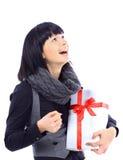 όμορφη γυναίκα εκμετάλλευσης επιχειρησιακών δώρων Στοκ Εικόνες