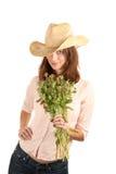 όμορφη γυναίκα καπέλων λο& Στοκ εικόνα με δικαίωμα ελεύθερης χρήσης