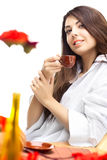 όμορφη γυναίκα καφέδων Στοκ Εικόνες