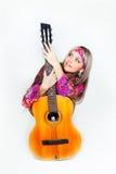 όμορφη γυναίκα κιθάρων Στοκ Φωτογραφίες