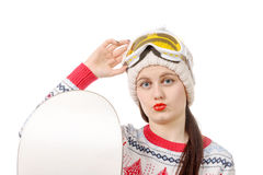 Όμορφη γυναίκα με ένα σνόουμπορντ στο στούντιο Στοκ φωτογραφία με δικαίωμα ελεύθερης χρήσης