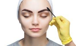 Όμορφη γυναίκα με τα μακροχρόνια eyelashes σε ένα σαλόνι ομορφιάς στοκ φωτογραφίες